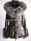 Fur Coat-Jungle rabbit skin with dyed fox fur