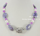 "18"" 15*20/8mm purple stone & jade FW pearl fashion necklace"