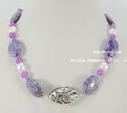"18"" 15*20/8mm purple stone & jade FW pearl fashion necklace"
