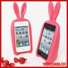 Cute 3D case for mobile phone,Rabbit Style Candy Color Cove for iPhone4/4s