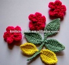 Crochet Flowers and Leaves with stems Made in China (KCC-HCF00208)