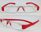 Small Metal reading glasses with red TR90 temples in red