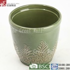 8 inch green glazed cheap ceramic planter