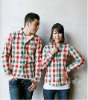 2012 style check shirt 100% cotton korean couple shirts