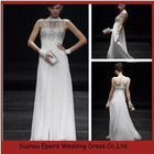 LED115 Popular White Sleeveless Jewel Neck Evening Dress