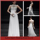 LED115 Popular White Sleeveless Jewel Neck Evening Dress