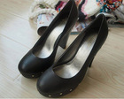 lady leather high heels, rivet round head high heels [bk304301]
