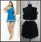 N053 latest sample new design lace sexy knee length ruffles real pictures of cocktail dress 2012