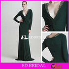 A Line Deep V Neck Floor Length Long Sleeve Evening Dress With Beadwork