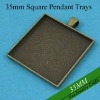 35MM Antique Bronze Square Blank Tray Pendants, Blank Bazel Settings, Blank Pendant Settings For Cabochons or Stickers