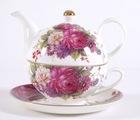 ceramic tea pot with saucer