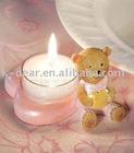 bear shape craft carved candle set with glass