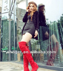 Vogue Hot Sale Back Lace-up High-heeled Wedge Knee Boots Red CD12092609-3