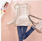 Vogue Pure Color Turndown Pocket Embellished Sweater Beige LP12092710-2
