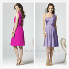 Short Charmeuse Dress with Draped Skirt Style one shoulder bridesmaid dresses