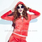 Fashion women velvet jogging suit with hood