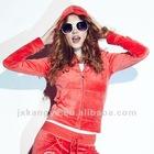 Fashion women velvet jogging suit with hood