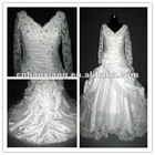 V-neck long sleeve lace real wedding dress (hy404)