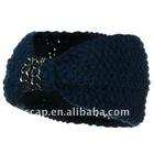 Chain Decoration Knit Headband - Navy ccap-1049