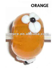 European Big Hole Orange Round Lampwork Glass Loosely Beads