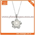 Sterling Silver White Cultured Freshwater with Cubic Zirconia Flower Pendant Necklace 18""