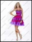 Best Selling A-Line Organza Tiered Discount Cocktail Neon Party Dress PS-594