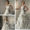 Hot Sale Ball Gown Satin Ivory Ruffle Chapel Train Weeding Gown