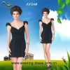 Cap sleeves balck chiffon mini cocktail dress 2012 AY04#