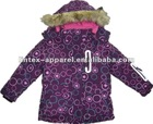 Newest purple printed baby clothes with hood fur