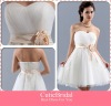 Tidy Pleats Handmade Flower Waist Tulle Bridesmaid Dress With Sweetheart Short Tulle Party Dress