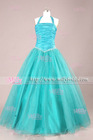 PM0918 Floor Length Flare Puffy Blue Skype Ruffled Tulle Prom Dress