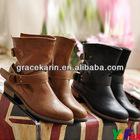Women Vintage Buckle Strap Short Boots SH57