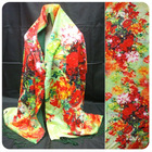 woman's winter flower oil painting silk scarf