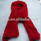 Ex-large & ex-long red color rabbit fur neckware