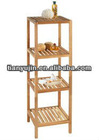 wide slat storage organizer,4 tier wooden corner shelf, floor shelf