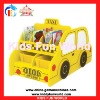 2012 latest wooden children bookshelf taxi shape toy cabinet