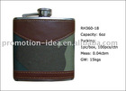 leather covered mini hip flask set