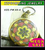 Hot sale wholesale enamel flower chain pocket watch