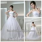 Unique Design Strapless A-line Tulle Lace Aplique Real Sample Bridal Wedding Dress