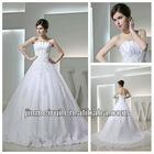 Unique Design Strapless A-line Tulle Lace Aplique Real Sample Bridal Wedding Dress