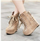 Fashion Lace Up Zipper Design Wedge Boot Khaki CD12092513