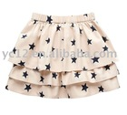 100% Cotton Fashion Star Print Girls Rara Skirt