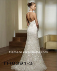 lace halter backless mermaid wedding dress