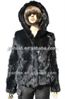 YR-038 Natural color ladies' rabbit fur jacket with hood