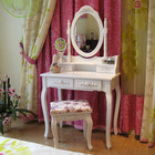 White Wood Classical Design Dressing Table And Dresser With Mirror