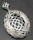 NEW!!! 15x20mm Oval 14k White Gold Semi Mount Diamond Pendant