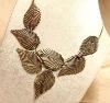 elegant leaf gold necklace, leaves graceful gold jewelry, leaf gentlest vintage gold necklace