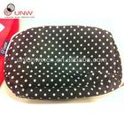 cute cosmetic bag,white dot in black fabric