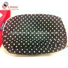 cute cosmetic bag,white dot in black fabric
