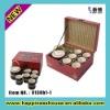 antique leather porcelain tea set box